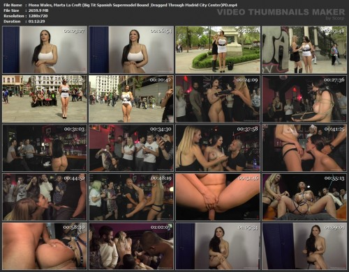 PublicDisgrace.com - Mona Wales, Marta La Croft (Big Tit Spanish Supermodel Bound & Dragged Through Madrid City Center) screencaps